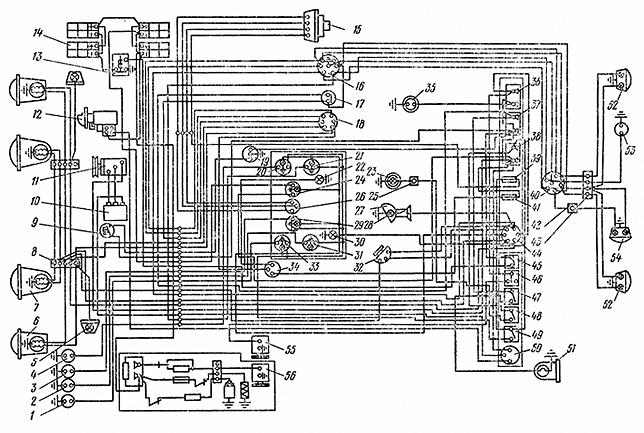 Схема электрооборудования одноосного тягача МоАЗ-546П.
