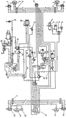 Схема электрооборудования трактора Т-40 со стартером